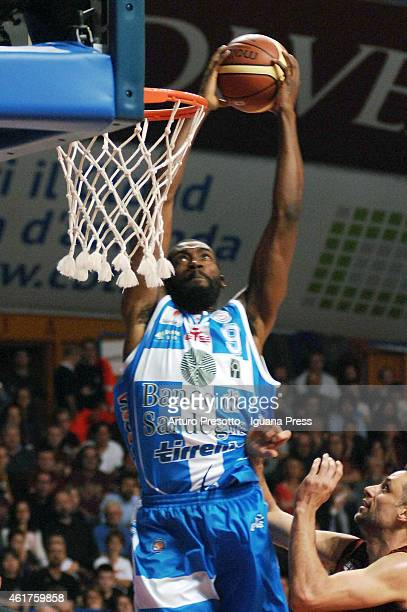 Shane Lawal of Banco di Sardegna competes with Tomas Ress of Umana during the Lega Basket serie A1 match between Umana Reyer Venezia and Banco di...