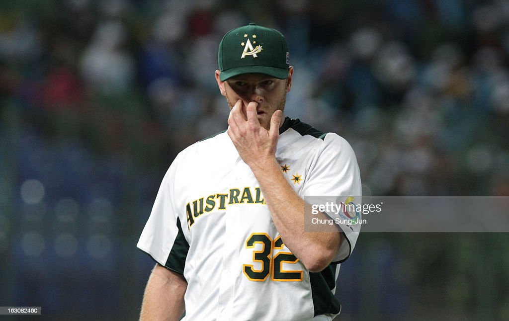 Shane Lindsay of Australia reacts in the sixth inning during the World Baseball Classic First Round Group B match between South Korea and Australia at Intercontinental Baseball Stadium on March 4, 2013 in Taichung, Taiwan.