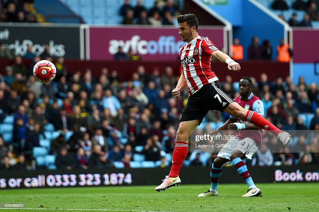 Shane Lonf of Southampton scores the opening goal during the Barclays Premier League match between Aston Villa and Southampton at Villa Park on April 23, 2016 in Birmingham, United Kingdom.