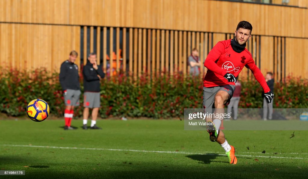 Shane Long during a Southmpton FC training session at the Staplewood Campus on November 16, 2017 in Southampton, England.