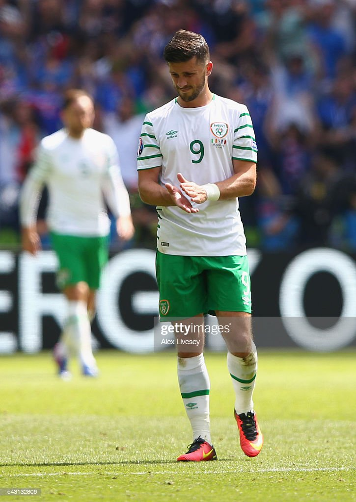 Aiden McGeady of Republic of Ireland shows his dejection after France's second goal during the UEFA EURO 2016 round of 16 match between France and Republic of Ireland at Stade des Lumieres on June 26, 2016 in Lyon, France.