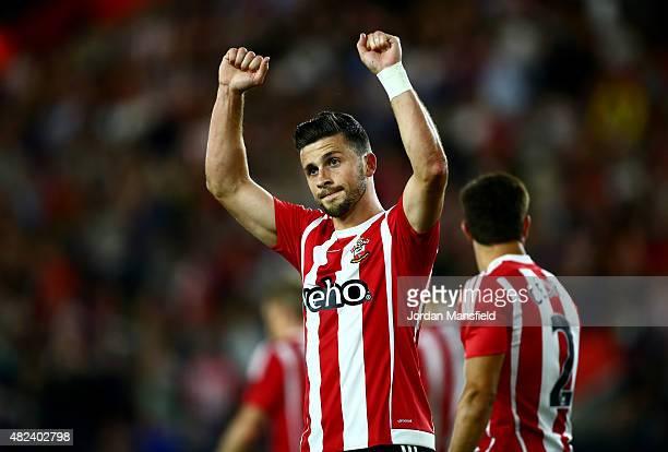 Shane Long of Southampton celebrates after scoring to make it 30 during the UEFA Europa League Third Qualifying Round 1st Leg match between...