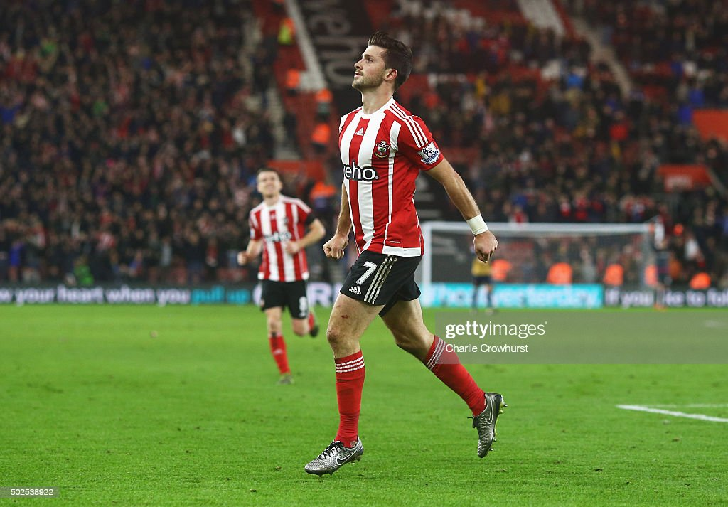 Shane Long of Southampton celebrates as he scores their fourth goal during the Barclays Premier League match between Southampton and Arsenal at St Mary's Stadium on December 26, 2015 in Southampton, England.