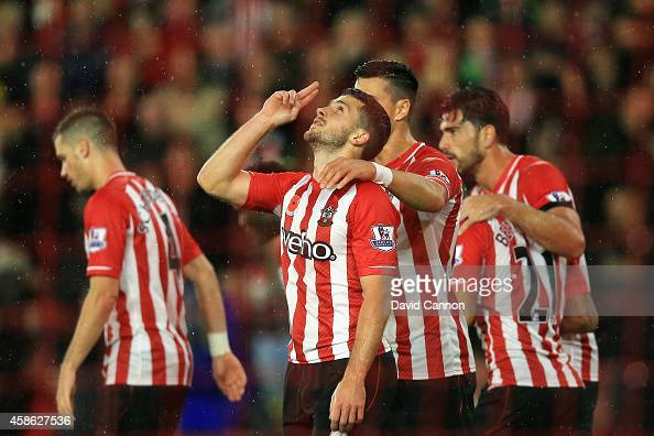Shane Long of Southampton celebrates scoring a goal during the Barclays Premier League match between Southampton and Leicester City at St Mary's...