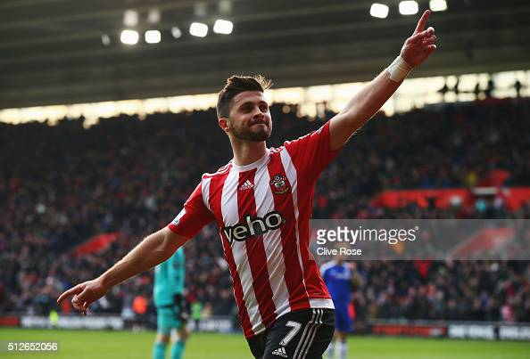 Shane Long of Southampton celebrates scoring his team's first goal during the Barclays Premier League match between Southampton and Chelsea at St...