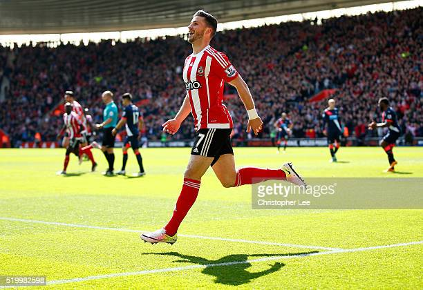 Shane Long of Southampton celebrates scoring his team's first goal during the Barclays Premier League match between Southampton and Newcastle United...