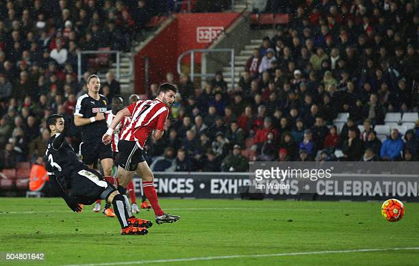 Shane Long of Southampton scores his team's first goal during the Barclays Premier League match between Southampton and Watford at St Mary's Stadium...