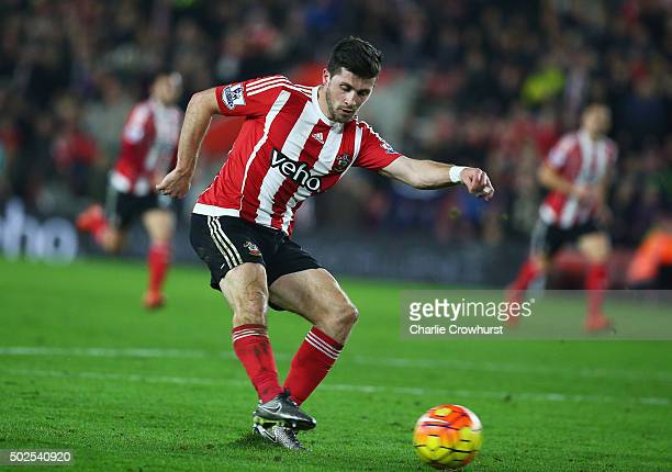 Shane Long of Southampton scores their fourth goal during the Barclays Premier League match between Southampton and Arsenal at St Mary's Stadium on...