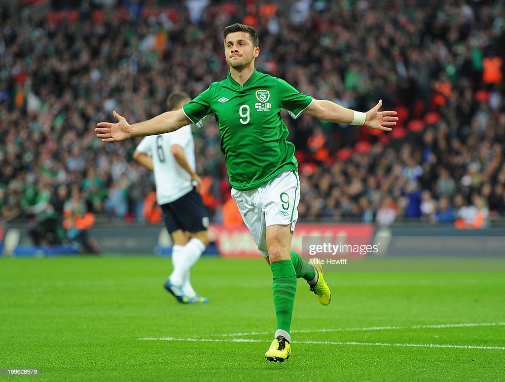 <a gi-track='captionPersonalityLinkClicked' href=/galleries/search?phrase=Shane+Long&family=editorial&specificpeople=661194 ng-click='$event.stopPropagation()'>Shane Long</a> of the Republic of Ireland celebrates as he scores their first goal during the International Friendly match between England and the Republic of Ireland at Wembley Stadium on May 29, 2013 in London, England.