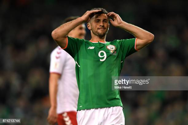 Shane Long of the Republic of Ireland reacts during the FIFA 2018 World Cup Qualifier PlayOff Second Leg between Republic of Ireland and Denmark at...