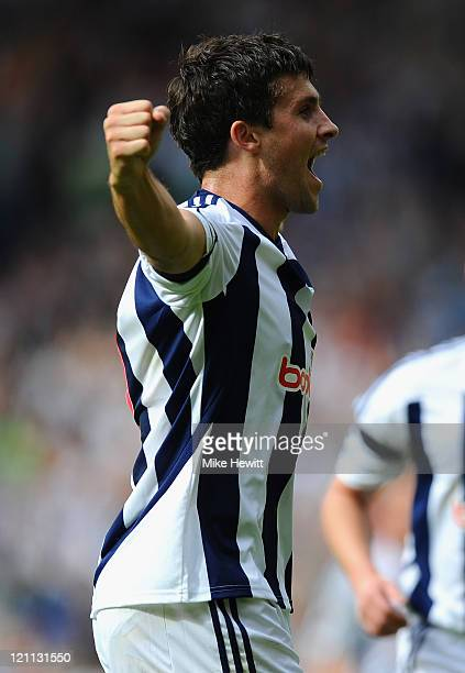 Shane Long of West Bromwich Albion celebrates his goal during the Barclays Premier League match between West Bromwich Albion and Manchester United at...