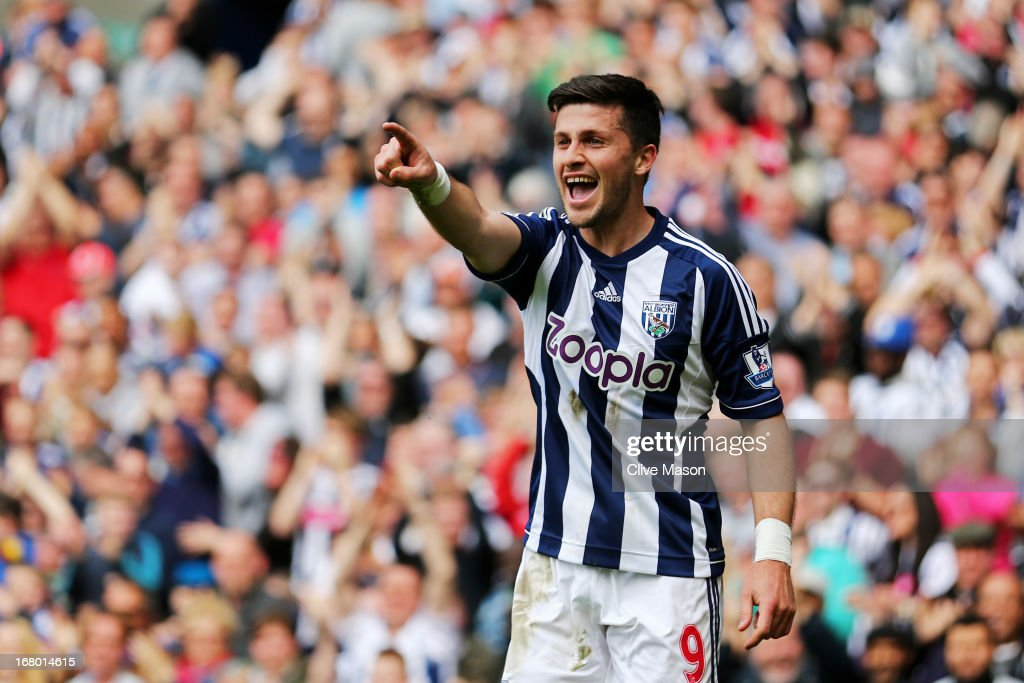 <a gi-track='captionPersonalityLinkClicked' href=/galleries/search?phrase=Shane+Long&family=editorial&specificpeople=661194 ng-click='$event.stopPropagation()'>Shane Long</a> of West Bromwich celebrates after scoring the opening goal during the Barclays Premier League match between West Bromwich Albion and Wigan Athletic at The Hawthorns on May 4, 2013 in West Bromwich, England.