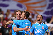 Shane Lowry and Chris Harold of the Glory celebrate a goal during the round 20 ALeague match between the Perth Glory and Brisbane Roar at nib Stadium...