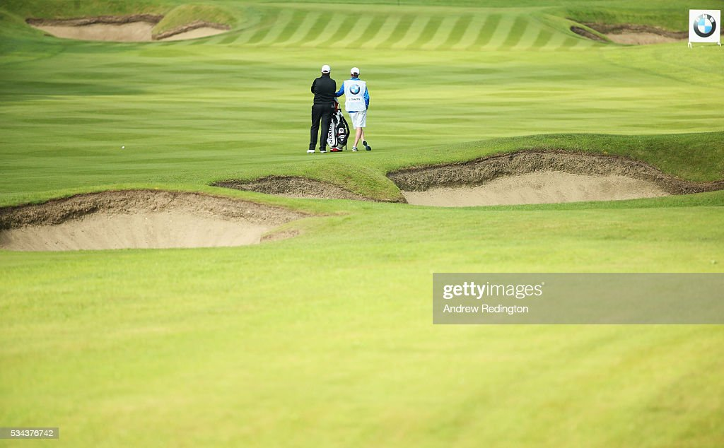 <a gi-track='captionPersonalityLinkClicked' href=/galleries/search?phrase=Shane+Lowry+-+Golfer&family=editorial&specificpeople=12866010 ng-click='$event.stopPropagation()'>Shane Lowry</a> of Ireland and caddie Dermot Byrne wait on the 3rd hole during day one of the BMW PGA Championship at Wentworth on May 26, 2016 in Virginia Water, England.
