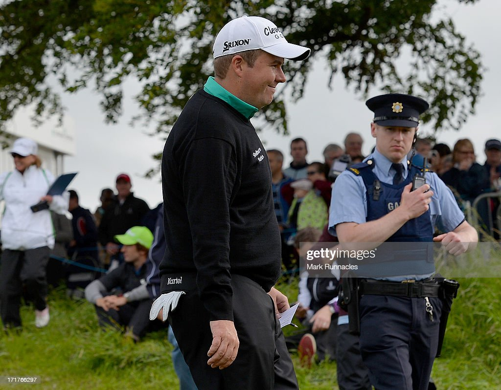 <a gi-track='captionPersonalityLinkClicked' href=/galleries/search?phrase=Shane+Lowry+-+Golf&family=editorial&specificpeople=12866010 ng-click='$event.stopPropagation()'>Shane Lowry</a> of Ireland at the 18th during the Second Round of the Irish Open at Carton House Golf Club on June 28, 2013 in Maynooth, Ireland.