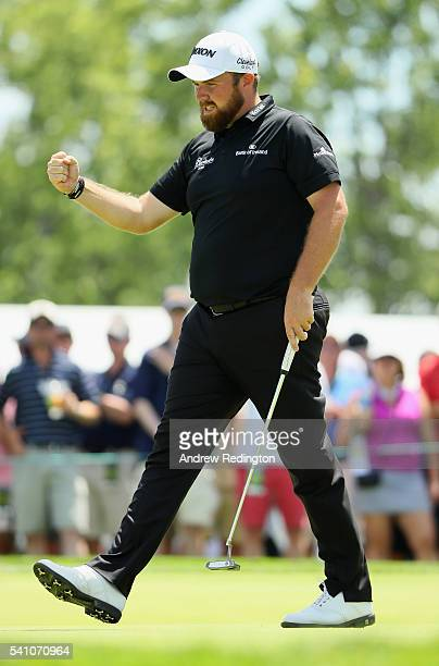 Shane Lowry of Ireland celebrates after a par save on the ninth green during the continuation of the second round of the US Open at Oakmont Country...