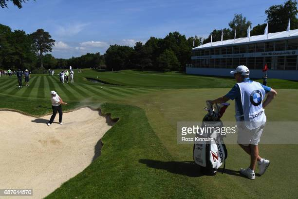 Shane Lowry of Ireland hits from a bunker during the BMW PGA Championship ProAm at Wentworth on May 24 2017 in Virginia Water England