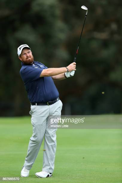 Shane Lowry of Ireland hits his third shot on the 17th hole during day one of the Andalucia Valderrama Masters at Real Club Valderrama on October 19...