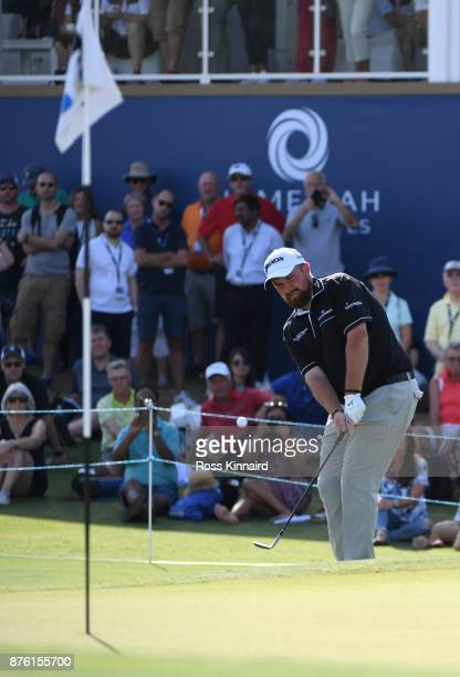 Shane Lowry of Ireland hits his third shot on the 18th hole uring the final round of the DP World Tour Championship at Jumeirah Golf Estates on...
