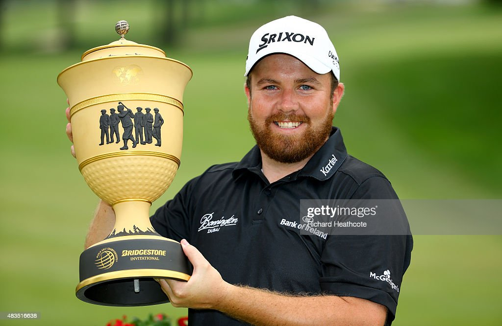 Shane Lowry of Ireland holds the Gary Player Cup after winning the World Golf Championships - Bridgestone Invitational during the final round at Firestone Country Club South Course on August 9, 2015 in Akron, Ohio.