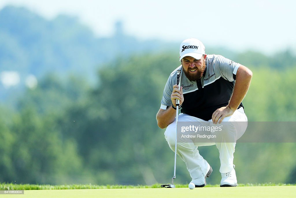 Shane Lowry of Ireland lines up a putt on the third hole during the final round of the U.S. Open at Oakmont Country Club on June 19, 2016 in Oakmont, Pennsylvania.
