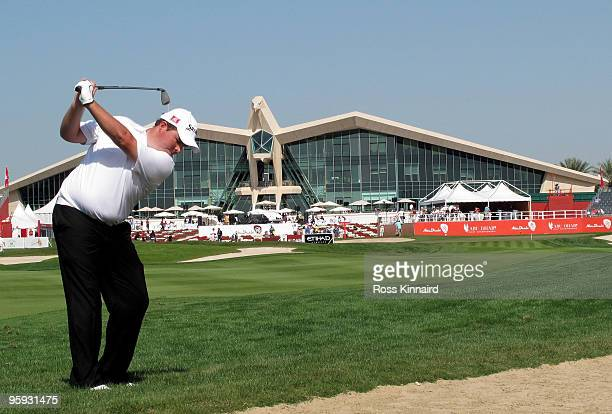 Shane Lowry of Ireland on the par four 9th hole during the second round of the Abu Dhabi Golf Championship at the Abu Dhabi Golf Club on January 22...