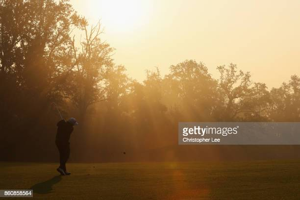 Shane Lowry of Ireland plays a shot during day two of the Italian Open at Golf Club Milano Parco Reale di Monza on October 13 2017 in Monza Italy