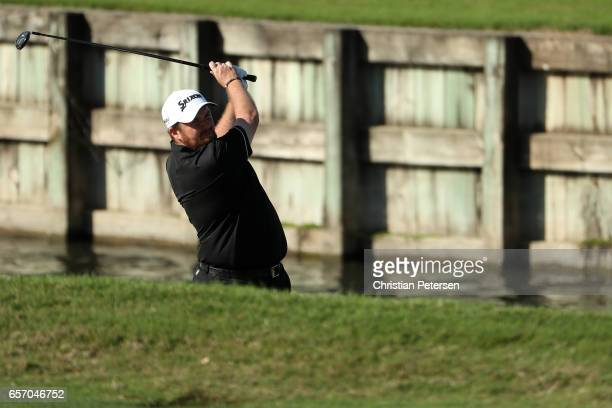 Shane Lowry of Ireland plays a shot on the 16th hole of his match during round two of the World Golf ChampionshipsDell Technologies Match Play at the...