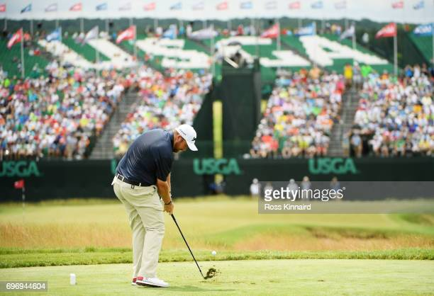 Shane Lowry of Ireland plays his shot from the ninth tee during the third round of the 2017 US Open at Erin Hills on June 17 2017 in Hartford...