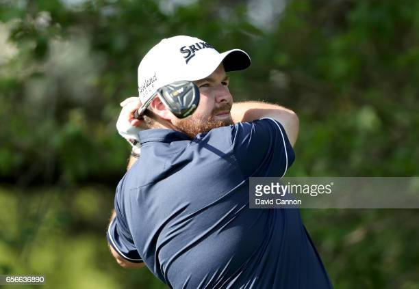 Shane Lowry of Ireland plays his tee shot on the par 4 10th hole in his match against Sergio Garcia during the first round of the 2017 Dell Match...
