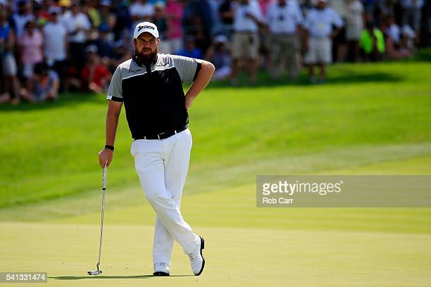 Shane Lowry of Ireland prepares to putt on the first green during the final round of the US Open at Oakmont Country Club on June 19 2016 in Oakmont...