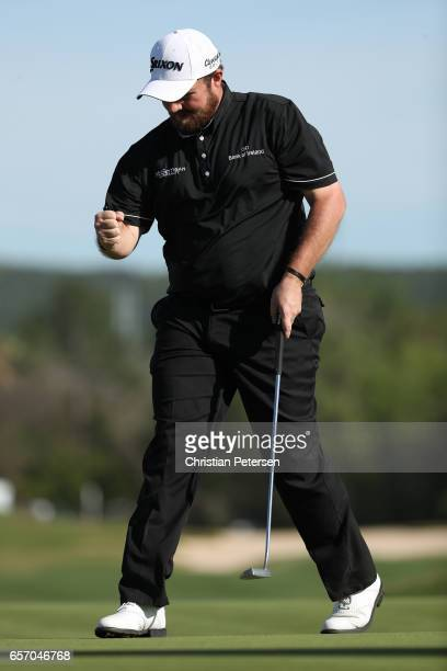 Shane Lowry of Ireland reacts after putting on the 15th hole of his match during round two of the World Golf ChampionshipsDell Technologies Match...