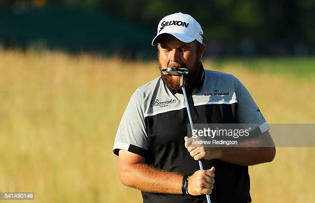 Shane Lowry of Ireland reacts to a missed putt on the 14th green during the final round of the US Open at Oakmont Country Club on June 19 2016 in...