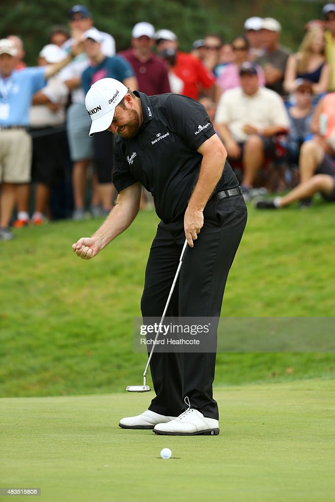 Shane Lowry of Ireland reacts to a par putt on the 17th green during the final round of the World Golf Championships - Bridgestone Invitational at Firestone Country Club South Course on August 9, 2015 in Akron, Ohio.