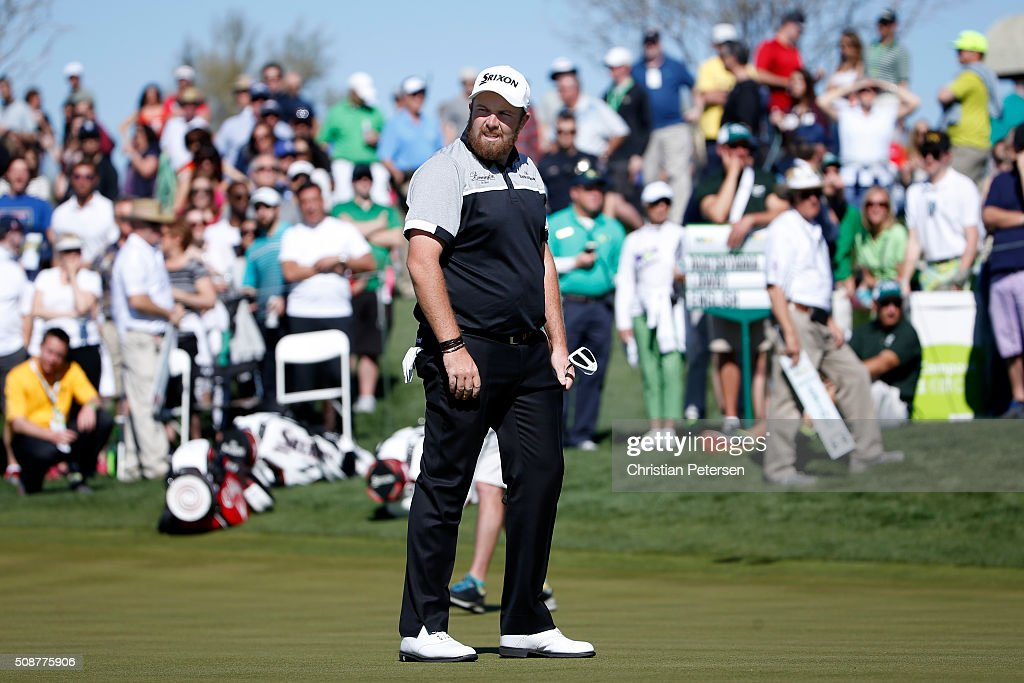 <a gi-track='captionPersonalityLinkClicked' href=/galleries/search?phrase=Shane+Lowry+-+Golfer&family=editorial&specificpeople=12866010 ng-click='$event.stopPropagation()'>Shane Lowry</a> of Ireland reacts to a putt on the eighth hole during the third round of the Waste Management Phoenix Open at TPC Scottsdale on February 6, 2016 in Scottsdale, Arizona.