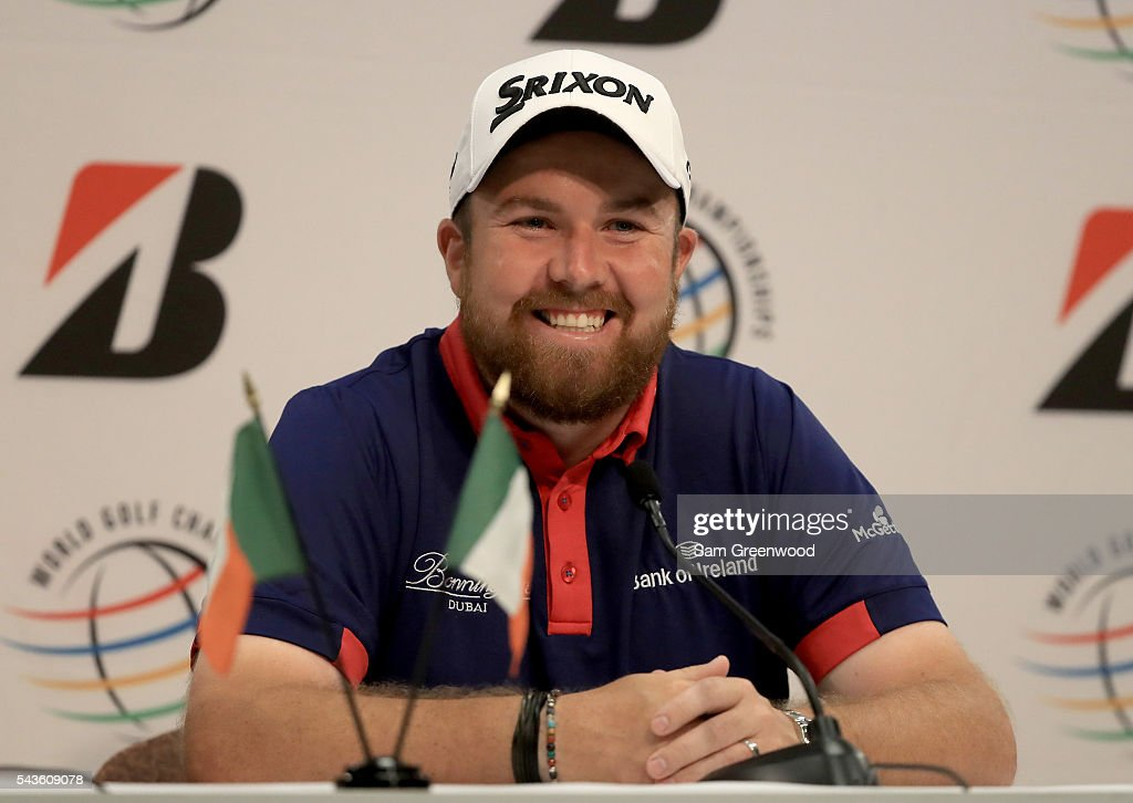 <a gi-track='captionPersonalityLinkClicked' href=/galleries/search?phrase=Shane+Lowry+-+Golfer&family=editorial&specificpeople=12866010 ng-click='$event.stopPropagation()'>Shane Lowry</a> of Ireland speaks to the media prior to the World Golf Championships-Bridgestone Invitationalon at Firestone Country Club South course on June 29, 2016 in Akron, Ohio.