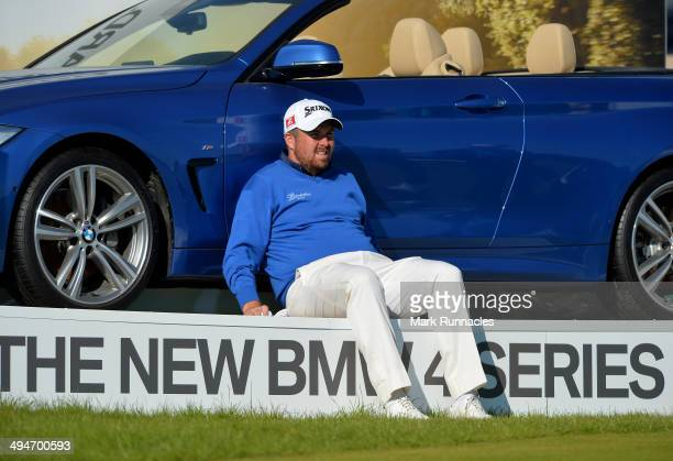 Shane Lowry of Ireland takes a break on the 17th tee during the Nordea Masters at the PGA Sweden National on May 30 2014 in Malmo Sweden