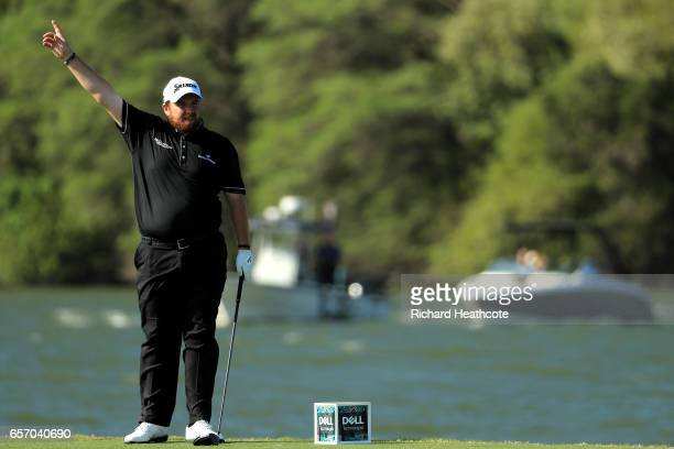 Shane Lowry of Ireland tees off on the 14th hole of his match during round two of the World Golf ChampionshipsDell Technologies Match Play at the...