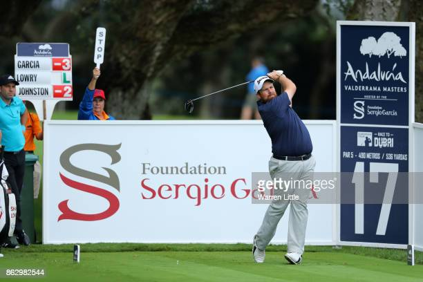 Shane Lowry of Ireland tees off on the 17th hole during day one of the Andalucia Valderrama Masters at Real Club Valderrama on October 19 2017 in...