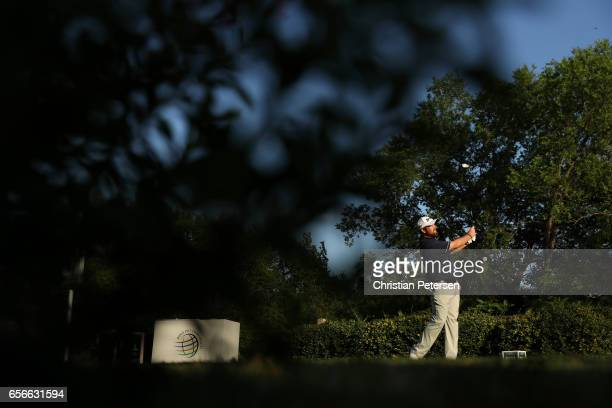 Shane Lowry of Ireland tees off on the 17th hole of his match during round one of the World Golf ChampionshipsDell Technologies Match Play at the...