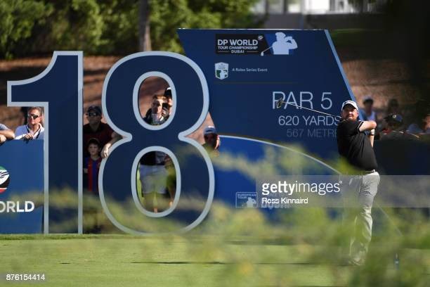 Shane Lowry of Ireland tees off on the 18th hole during the final round of the DP World Tour Championship at Jumeirah Golf Estates on November 19...