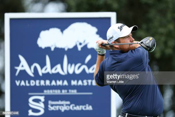 Shane Lowry of Ireland tees off on the 2nd hole during day one of the Andalucia Valderrama Masters at Real Club Valderrama on October 19 2017 in...