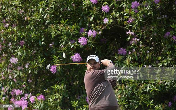 Shane Lowry of Ireland tees off on the 7th hole during day three of the BMW PGA Championship at Wentworth on May 24 2014 in Virginia Water England