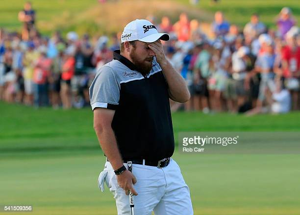 Shane Lowry of Ireland walks off the 18th green during the final round of the US Open at Oakmont Country Club on June 19 2016 in Oakmont Pennsylvania