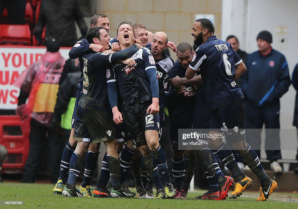 Shane Lowry of Millwall celebrates scoring the first goal during the npower Championship match between Charlton Athletic and Millwall at The Valley on March 16, 2013 in London, England.