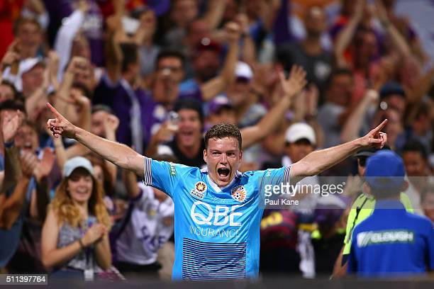 Shane Lowry of the Glory celebrates a goal during the round 20 ALeague match between the Perth Glory and Brisbane Roar at nib Stadium on February 20...