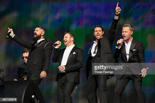 Shane Lynch Mikey Graham Keith Duffy and Ronan Keating of Boyzone performs on stage at British Summer Time Festival at Hyde Park on July 13 2014 in...