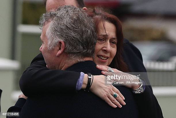 Shane MacGowan's sister Siobhan is comforted at the funeral of their mother Therese MacGowan at Our Lady of Lourdes Church Silvermines Co Tipperary