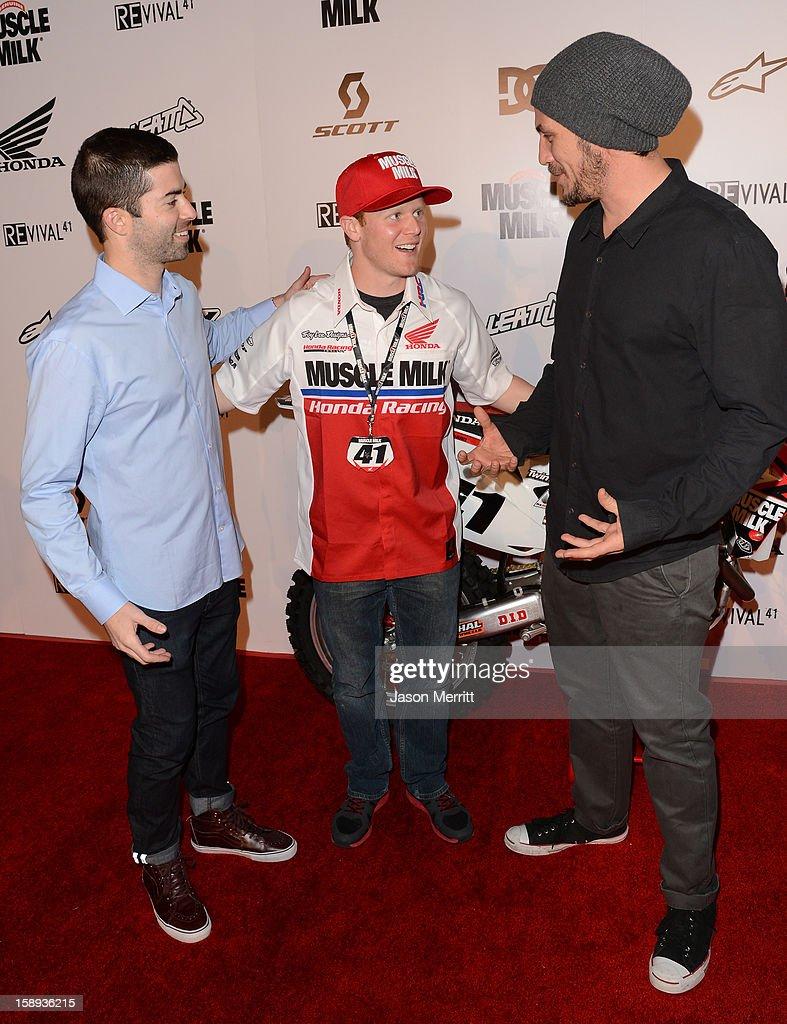 Shane McCassy, supercross champion Trey Canard, and director Jason Bergh attend the Trey Canard 'REvival 41' premiere held at UltraLuxe Cinemas at Anaheim GardenWalk on January 3, 2013 in Anaheim, California.