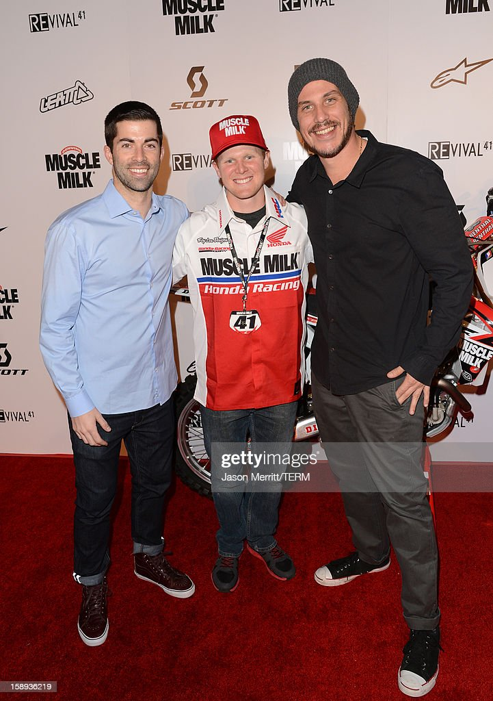 Shane McCassy, supercross champion Trey Canard, and director Jason Bergh attend the Trey Canard 'REvival 41' premiere held at UltraLuxe Cinemas at Anaheim GardenWalk on January 3, 2013 in Anaheim, California.